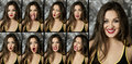 stock image of  Collage of portraits of different emotions women brunette on dark background