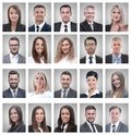 Collage of portraits of young businessmen and businesswoman