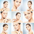 Collage of portraits of young women in makeup collection with arrows beautiful and healthy girl face lifting plastic surgery and Stock Photo