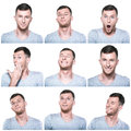 Collage of positive face expressions on white background Stock Photos