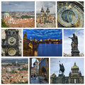 Collage from prague photo czech republic includes major landmarks of the city Royalty Free Stock Photos