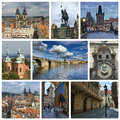 Collage from prague photo czech republic includes major landmarks of the city Royalty Free Stock Image