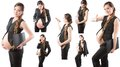 Collage of pregnant businesswoman on white background Stock Photo