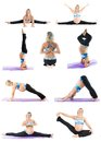 Collage of pregnant fitness woman make stretch on yoga and pilates pose on white background the concept sport health Royalty Free Stock Photo