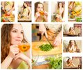 Collage of pregnant woman on kitchen Royalty Free Stock Images