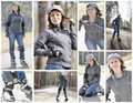 Collage of roller skating photo series young woman over early spring park background lovely smiling girl wearing fashionable Stock Photography
