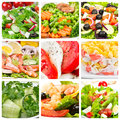 Collage of  salads Royalty Free Stock Photo