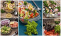 Collage salads of fresh vegetables Royalty Free Stock Photo