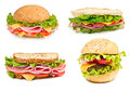 Collage of sandwiches  isolated on a white background Royalty Free Stock Photo