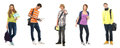 A collage of school teenages in modern clothes Royalty Free Stock Images