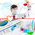 Collage with scientist in laboratory Royalty Free Stock Photography