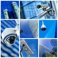 Collage of security camera and urban video Royalty Free Stock Photo
