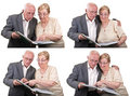 Collage senior couple sharing memories isolated Royalty Free Stock Photo