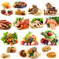 Collage, set food pyramid, healthy eating Royalty Free Stock Photo
