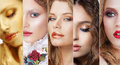 Collage. Set of Women's Faces with Various Colorful Makeup Royalty Free Stock Photo