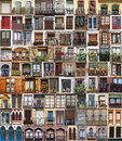 Collage of several windows displayed next to each other vertically Royalty Free Stock Photo