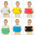 Collage of six portraits girls with different colored monochromatic cards in european year emotions girl multi self in hand Royalty Free Stock Image