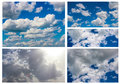 Collage sky collection of blue clouds on a sunny day Stock Photography
