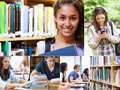 Collage of smiling students various pictures showing Royalty Free Stock Image