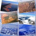 Collage a of some pictures made from airplane window Royalty Free Stock Photo