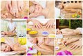 Collage spa treatments young woman Stock Image