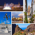 Collage of spain images nature and architecture background my photos Stock Images