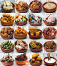 Collage of spanish cuisine located next to each other Royalty Free Stock Image