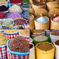 Collage of spices from moroccan markets in marrakesh Stock Image