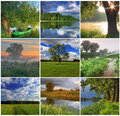 Collage of spring landscapes and summer Stock Photography