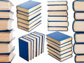 Collage with stacks of books isolated on white Royalty Free Stock Photo
