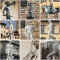 Collage of statues in florence renaissance italy Royalty Free Stock Photos