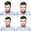 Collage of strong convincing determined confident face expres expressions on white background Stock Photos