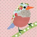 stock image of  Collage style bird. Patchwork Sparrow illustration. For feminine home decor, women, girls, stickers, paper, scrap booking, card