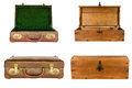 Collage suitcases chests isolated white background Stock Image
