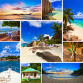 Collage of summer beach images Royalty Free Stock Photos