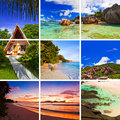 Collage of summer beach images nature and travel background my photos Royalty Free Stock Image