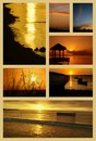Collage sunset images mauritius tropical island indian ocean Royalty Free Stock Image