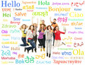 Collage of teenagers jumping with words group over the background the many from the different languages language school concept Royalty Free Stock Photo