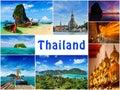 Collage of thailand images thai travel tourism concept design Stock Photos