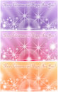 Collage of three colorful winter holiday greeting cards with shiny stars Royalty Free Stock Photo