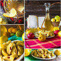 Collage tincture quince fruit alcohol intake of different of and Stock Image