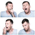 Collage of tired sleepy face expressions on white background Royalty Free Stock Photo