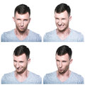 Collage of treacherous crafty face expressions on white background Royalty Free Stock Photography