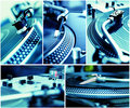 Collage of turntables playing vinyl records Stock Photos