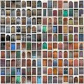 Typical vintage wooden doors collage