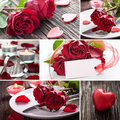 Collage valentines day with roses Royalty Free Stock Photography