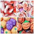 Collage of various candies and swets halloween colorful Royalty Free Stock Image