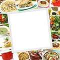 Collage with various dishes and blank frame in the middle Stock Image