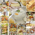 Collage of a variuos gourmet food picture diet concept Stock Photos
