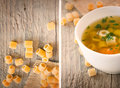 Collage Vegetable soup with pasta Stock Photo